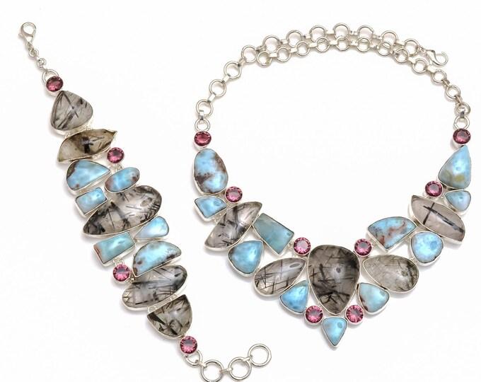 Larimar Tourmalated Quartz Necklace Bracelet SET1066