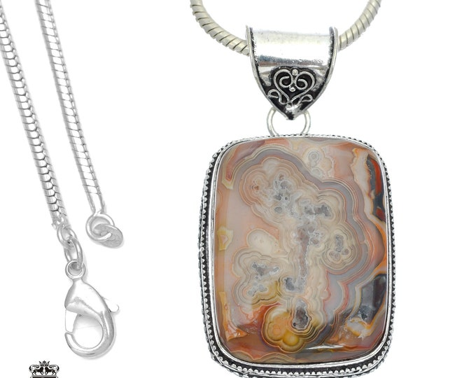 Crazy Lace Agate Pendant 4MM Italian Snake Chain V748