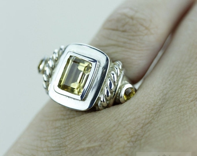 Size 4.5 ROYAL SETTING CITRINE 925 Fine Sterling Silver Ring  r955