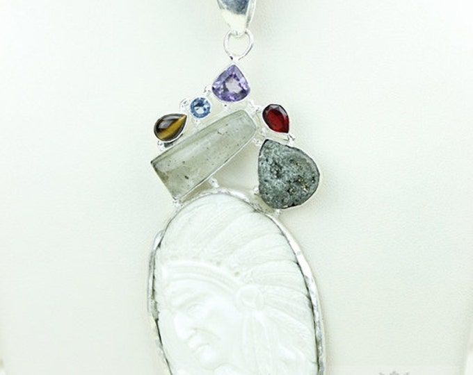 Chief HIAWATHA TOTEM Goddess Face Moon Face Bone Carving 925 S0LID Sterling Silver Pendant + 4MM Chain p3882
