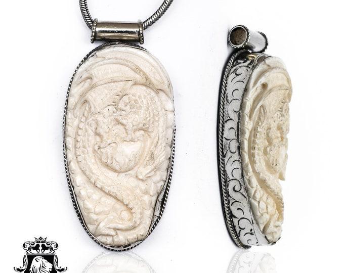 Sprawling Dragon Tibetan Repousse Silver Pendant 4MM Italian Snake Chain N134