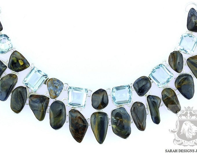 Namibian PIETERSITE Enhanced Aquamarine 925 SOLID Sterling Silver Necklace