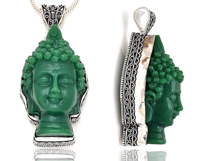 3.5 Inch Composite Jade 3D Buddha Head Carving Pendant 4MM Italian Snake Chain P8436