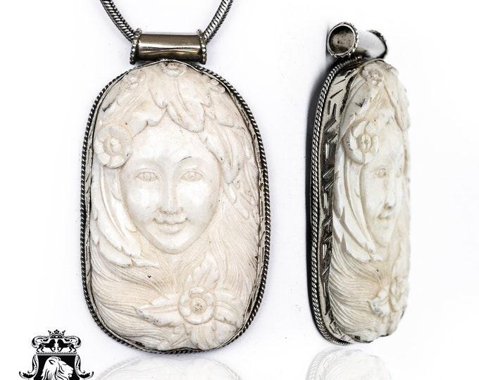Sacajawea Tibetan Repousse Silver Pendant 4MM Italian Snake Chain N137