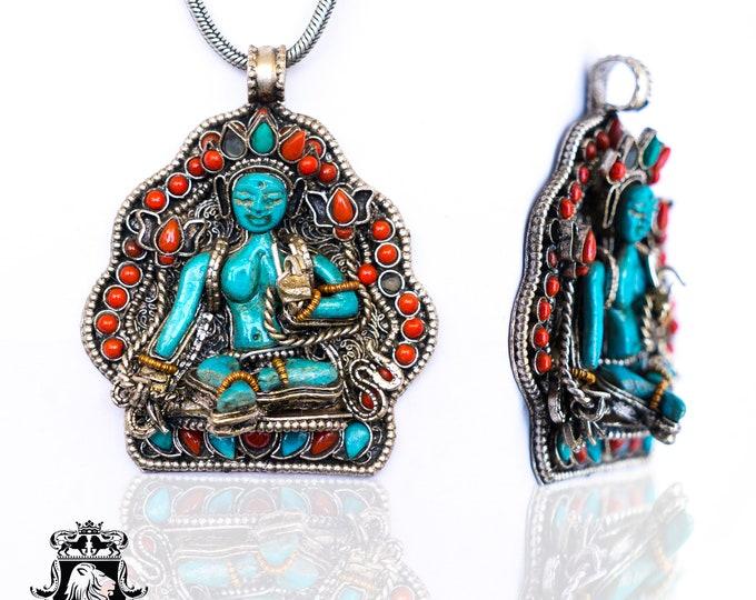 White Tara Buddha Ghau Tibetan Prayer Box Pendant 4MM Italian Snake Chain N66-2
