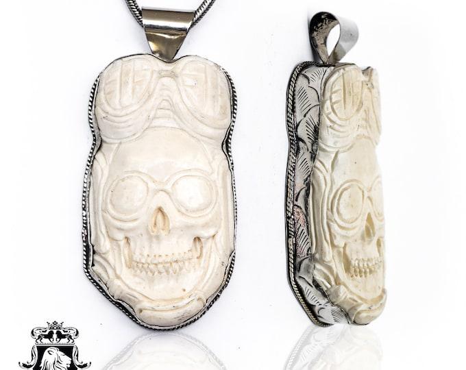 Aviator Skull Tibetan Repousse Silver Pendant 4MM Italian Snake Chain N127