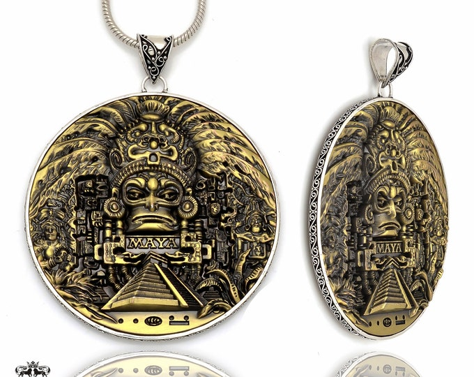 167 Gram Massive 4 Inch Solid Bronze Double Sided Coin Pendant Chain P8706