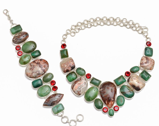 Crazy Lace Agate Boulder Chrysoprase Necklace Bracelet SET1059