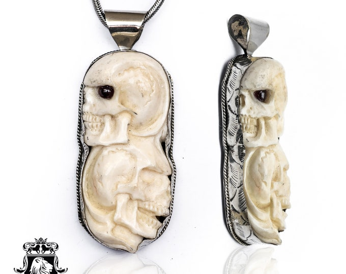 Overlapping Skulls Tibetan Repousse Silver Pendant 4MM Italian Snake Chain N139