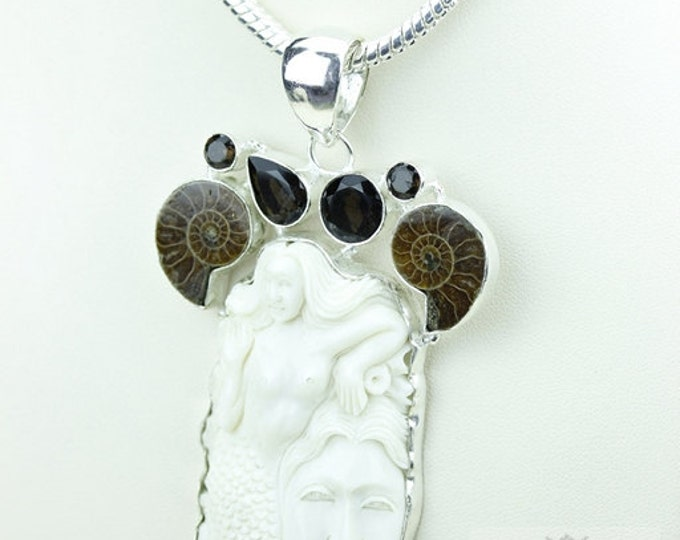 Ammonite Mermaid TOTEM Goddess Face Moon Face Bone Carving 925 S0LID Sterling Silver Pendant + 4MM Chain p3857