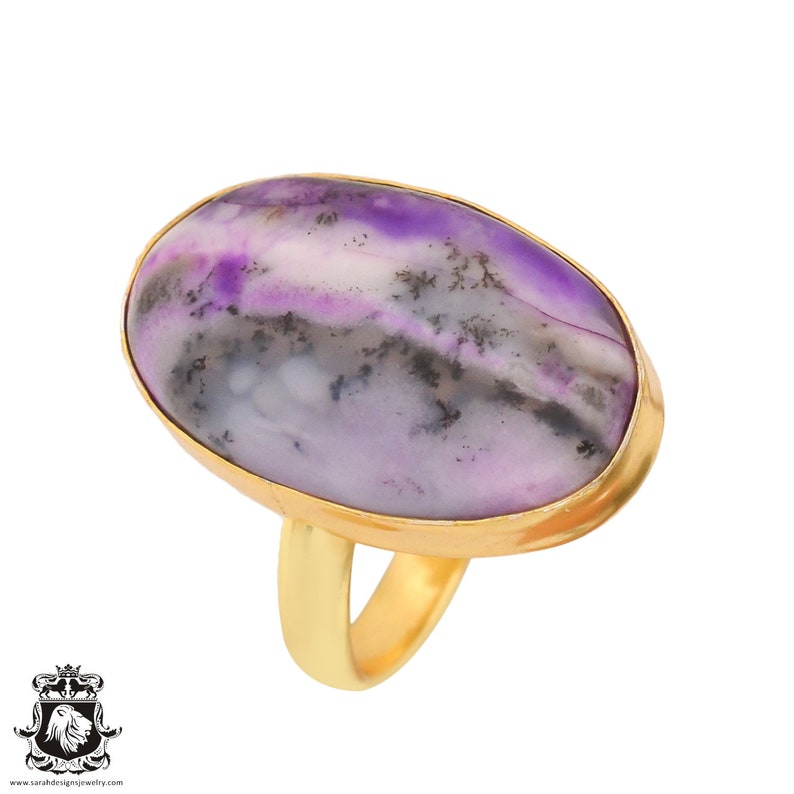 Size 9.5 Size 11 Adjustable Purple Merlinite Dendritic Opal 24K Gold Plated Ring GPR738
