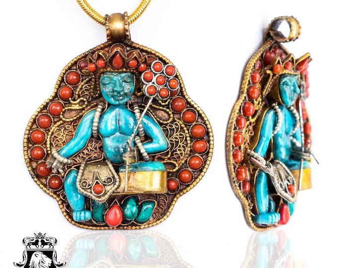 White Tara Ghau Tibetan Prayer Box Pendant 4MM Italian Snake Chain N187