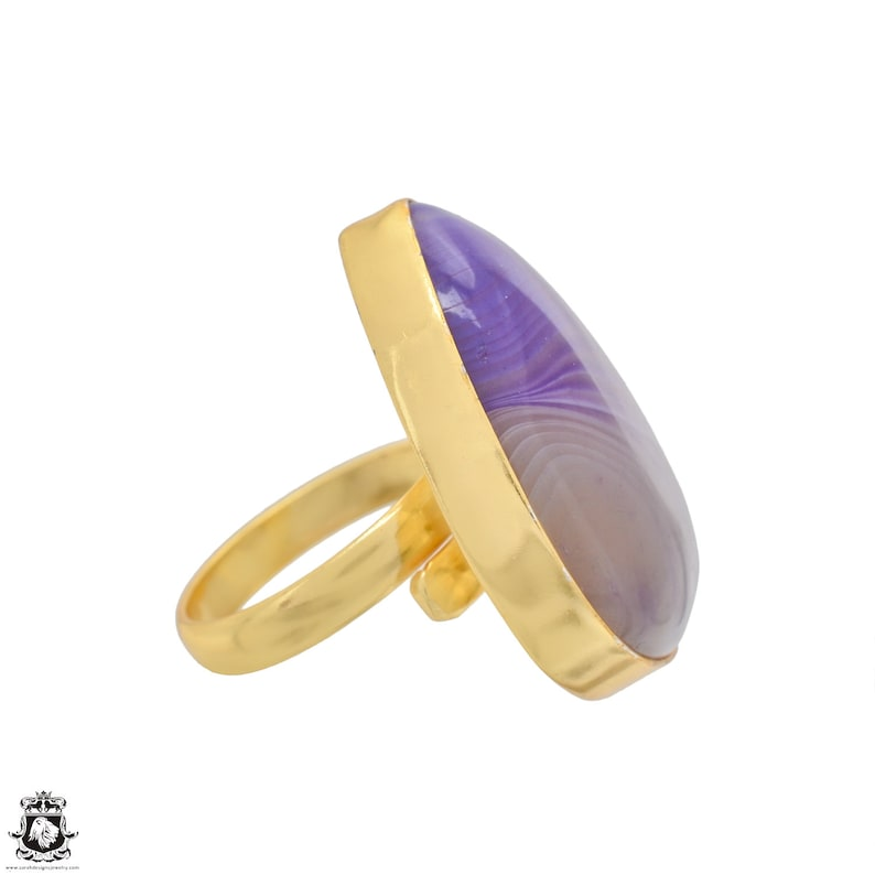 Size 9.5 Size 11 Adjustable Purple Banded Agate 24K Gold Plated Ring GPR1185