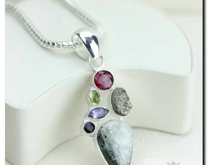 Made in Italy! Ocean Jasper Ruby Amethyst Pyrite 925 SOLID Sterling Silver Pendant + 4mm Snake Chain & FREE Worldwide Shipping P1880