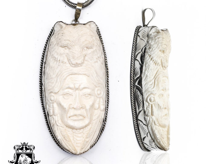 Native Chief Two Moons Tibetan Repousse Silver Pendant 4MM Italian Snake Chain N157