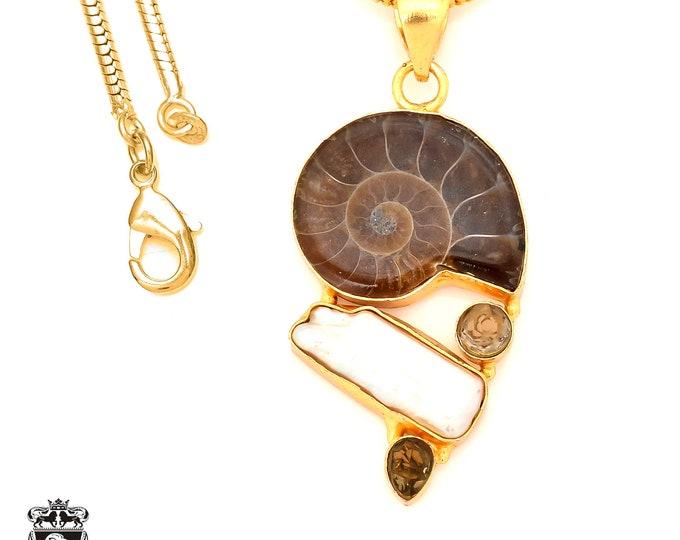 Ammonite 24K Gold Plated Pendant 3MM Italian Snake Chain GP98