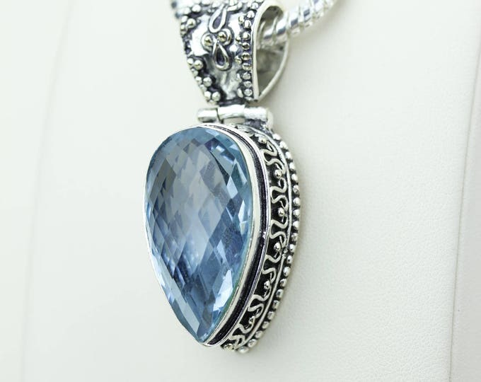 Swiss Blue Topaz Vintage Setting 925 S0LID Sterling Silver Pendant + 4MM Snake Chain & Worldwide Shipping p4232