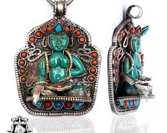 Amoghasiddhi Buddha Ghau Tibetan Prayer Box Pendant 4MM Italian Snake Chain N179
