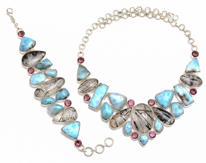 Larimar Tourmalated Quartz Necklace Bracelet SET1054