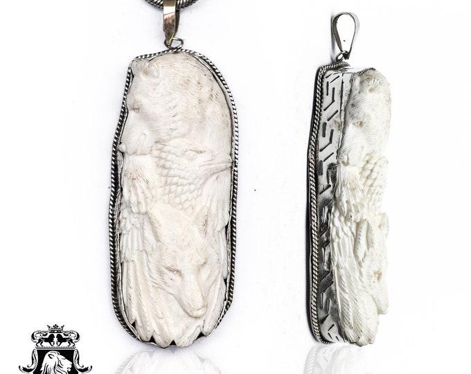 Bear Eagle Wolf Tibetan Repousse Silver Pendant 4MM Italian Snake Chain N148