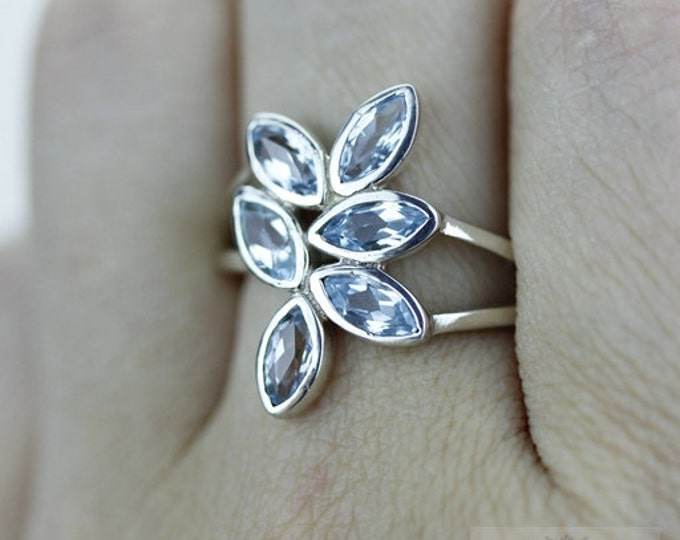 Size 6 MARQUISE SETTING AQUAMARINE 925 Fine Sterling Silver Ring  r1450