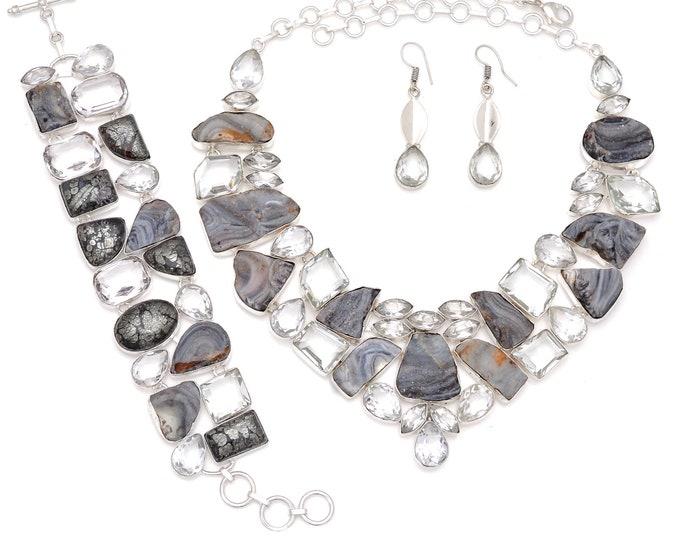 Marcasite Topaz Desert Druzy Necklace Bracelet Earrings Set 846