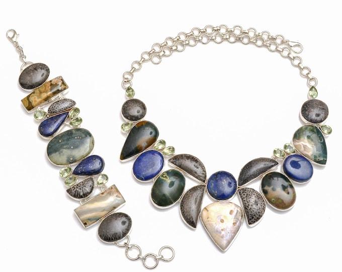 Stingray Coral Lapis Ocean Jasper Necklace Bracelet SET1061