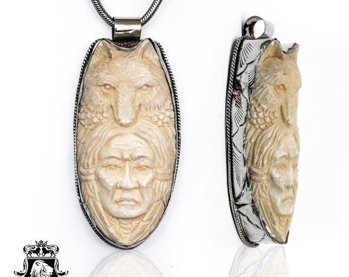 Wolf Chief Mangas Coloradas Tibetan Repousse Silver Pendant 4MM Italian Snake Chain N131
