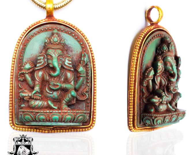Ganesha Pendant 4MM Italian Snake Chain N56