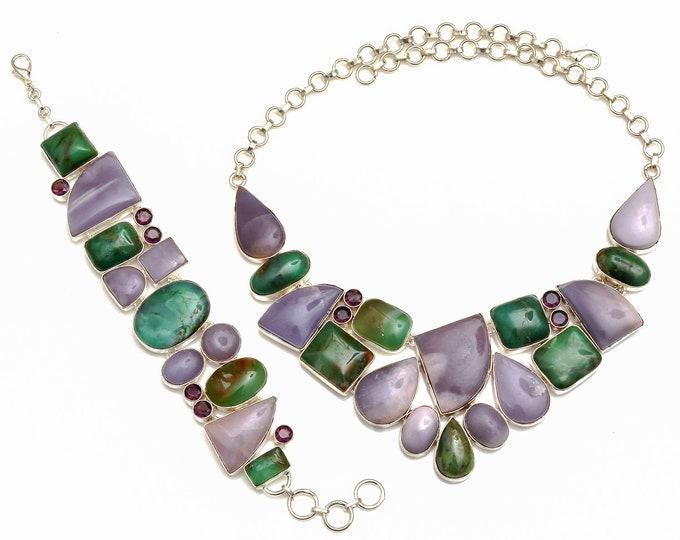 Morado Opal Boulder Chrysoprase Necklace Bracelet SET1070