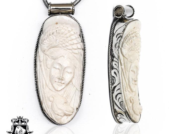 Eagle Lady Bear Tibetan Repousse Silver Pendant 4MM Italian Snake Chain N166