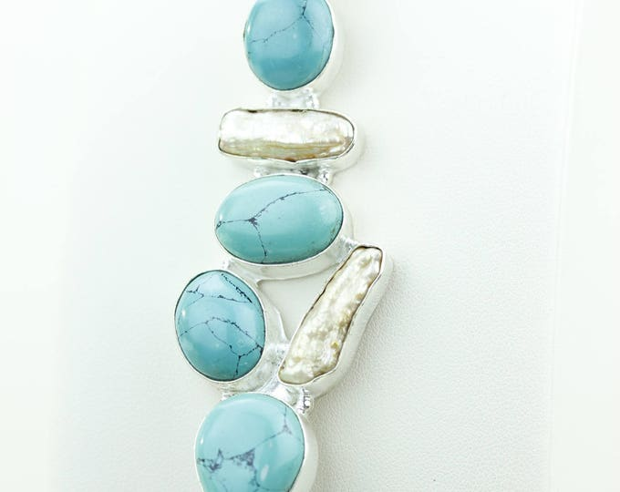 Turquoise Pearl 925 S0LID Sterling Silver Pendant + 4MM Snake Chain & Worldwide Shipping p4011