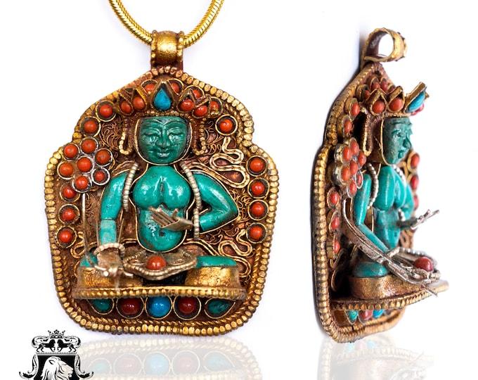 Jōshosa Chi Amoghasiddhi Ghau Tibetan Prayer Box Pendant 4MM Italian Snake Chain N182