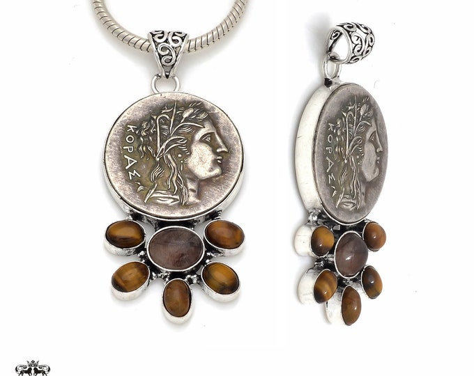 Tiger's Eye Reissued Greek Coin Pendant 4MM Italian Snake Chain P8654