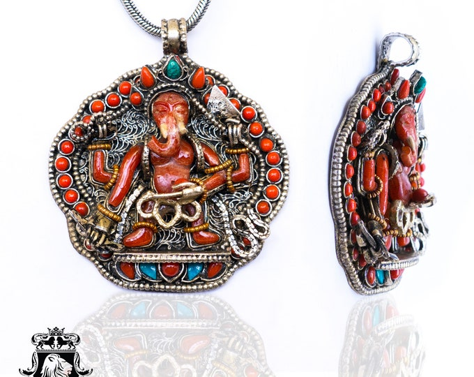 Genuine Coral Ganesha Ghau Tibetan Prayer Box Pendant 4MM Italian Snake Chain N71