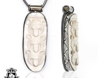 Three Bear Cubs Tibetan Repousse Silver Pendant 4MM Italian Snake Chain N160