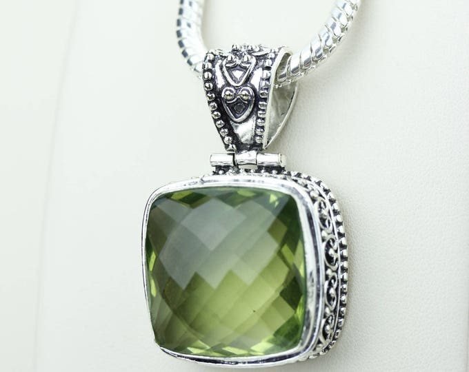 Square Facated Green Amethyst 925 S0LID Sterling Silver Pendant + 4MM Snake Chain & Worldwide Shipping p4221