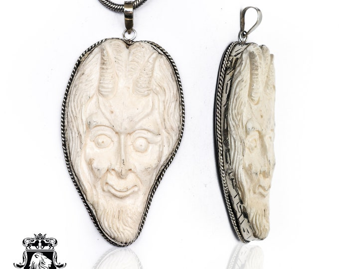 Greek Satyr Tibetan Repousse Silver Pendant 4MM Italian Snake Chain N147