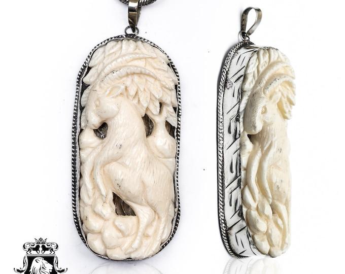 Rocky Mountain Goat Tibetan Repousse Silver Pendant 4MM Italian Snake Chain N154
