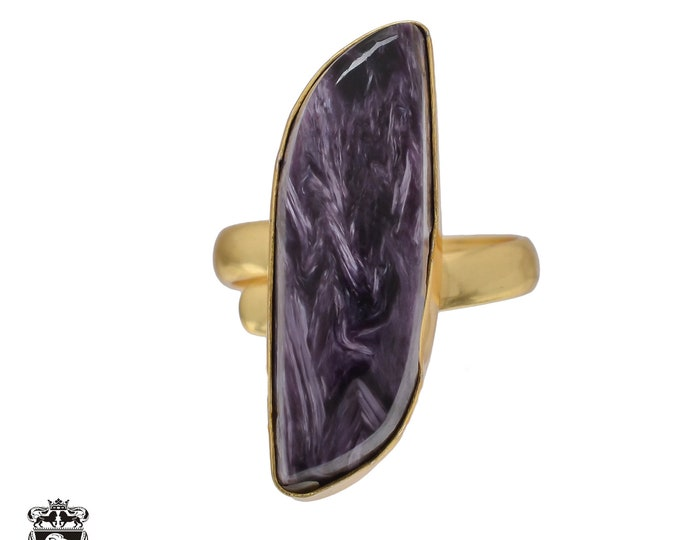 Size 8.5 - Size 10 Adjustable Charoite 24K Gold Plated Ring GPR474