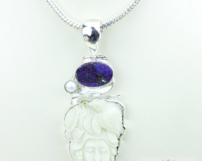 Sea Turtle Lady TOTEM Goddess Face Moon Face Bone Carving 925 S0LID Sterling Silver Pendant + 4MM Chain p3864