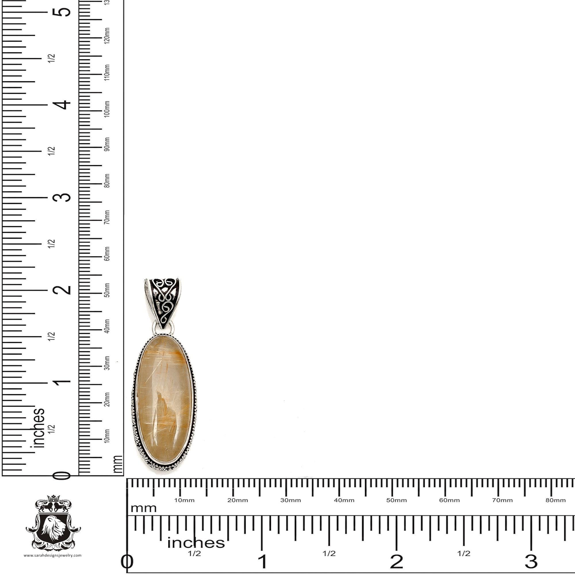 RUTILE RUTILATED Quartz Pendant 4MM Italian Snake Chain V1163