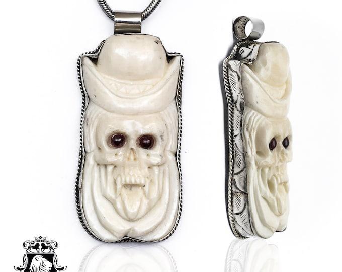 Top Hat Vampire Skull Tibetan Repousse Silver Pendant 4MM Italian Snake Chain N140