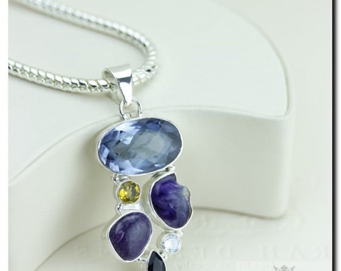 Lab created Iolite Russian Charoite Citrine 925 SOLID Sterling Silver Pendant + 4mm Snake Chain & FREE Worldwide Shipping p1857