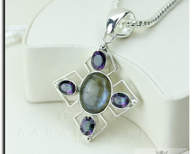 Canadian Labradorite Mystic Topaz 925 SOLID Sterling Silver Pendant + 4mm Snake Chain P1895