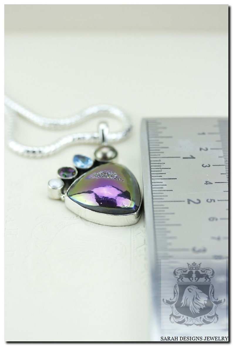 4mm Snake Chain /& FREE Worldwide Shipping P125 Titanium Window DRUSY Druzy Blue Mystic Topaz Pearl 925 SOLID Sterling Silver Pendant