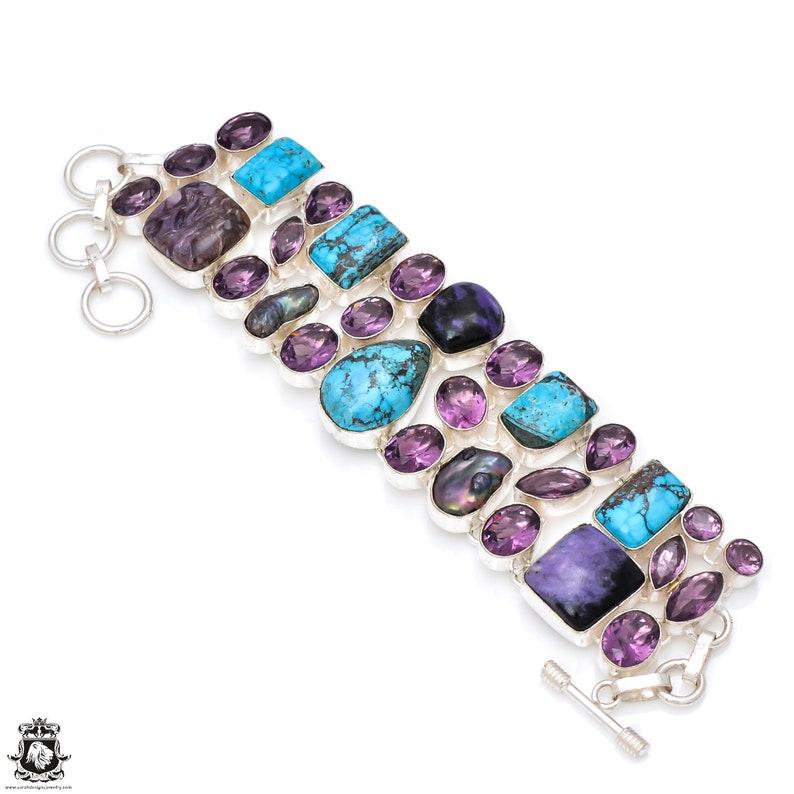 Turquoise Charoite Amethyst Bracelet B3894