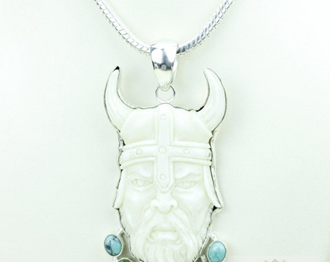 Viking King Ragnar Lothbrok TOTEM Goddess Face Moon Face Bone Carving 925 S0LID Sterling Silver Pendant + 4MM Chain p3909