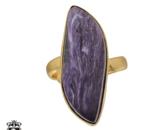 Size 8.5 - Size 10 Adjustable Charoite 24K Gold Plated Ring GPR486