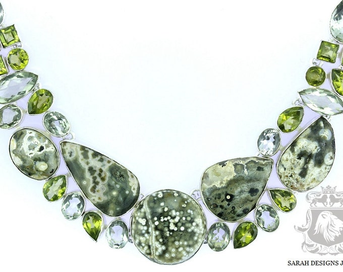 Excellent Quality Madagascar Ocean Jasper PRASIOLITE Green Amethyst 925 SOLID Sterling Silver Necklace & FREE Worldwide Shipping